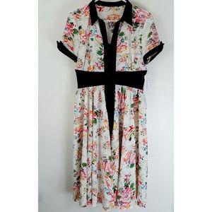 NWT Unique Vintage Chiffon Swing Floral Dress M